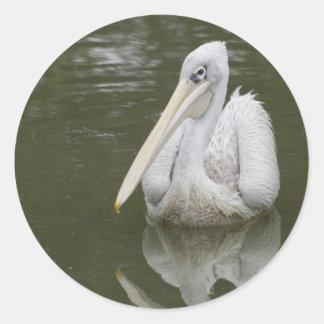 """""""white pelican"""" evelope seal/sticker classic round sticker"""