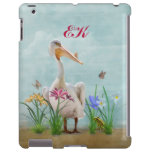 White Pelican, Flowers and Butterflies, Monogram