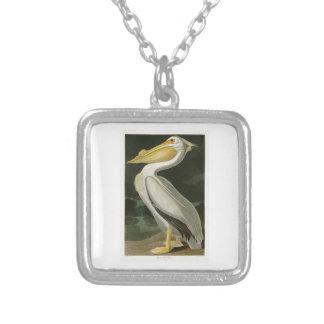 White Pelican John James Audubon Birds of America Square Pendant Necklace