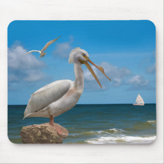 White Pelican on a Rock Mouse Pad