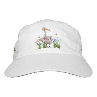 White Pelican with Flowers and Butterflies Headsweats Hat