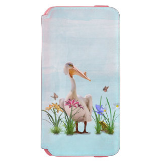 White Pelican with Flowers and Butterflies iPhone 6/6s Wallet Case