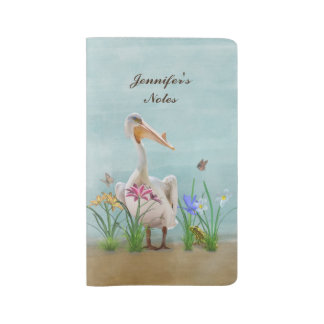 White Pelican with Flowers and Butterflies Large Moleskine Notebook