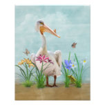 White Pelican with Flowers and Butterflies Photo Print