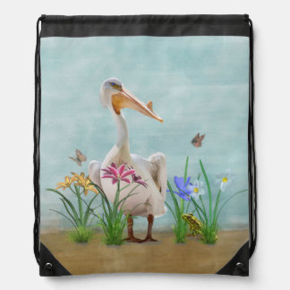 White Pelican with Flowers and Butterflies Drawstring Backpacks