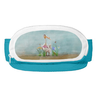 White Pelican with Flowers and Butterflies Visor