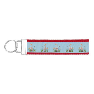 White Pelican with Flowers and Butterflies Wrist Keychain