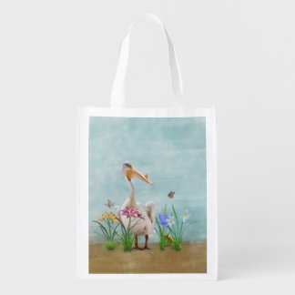 White Pelican with Flowers and Butterflies Market Tote