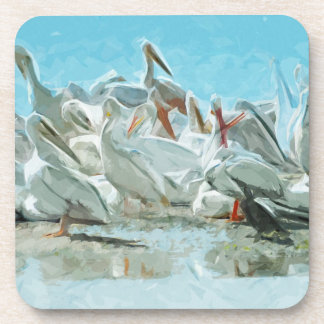 White Pelicans and Black Friend Abstract Beverage Coaster