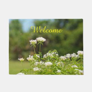 White Penta flowers Welcome Doormat