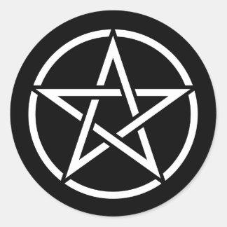 White Pentagram on Black Round Sticker
