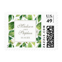 White Peonies and Green Leaf Watercolor Pattern Postage