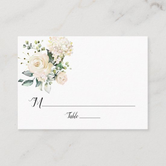 White Peonies and Roses Flat Place Cards