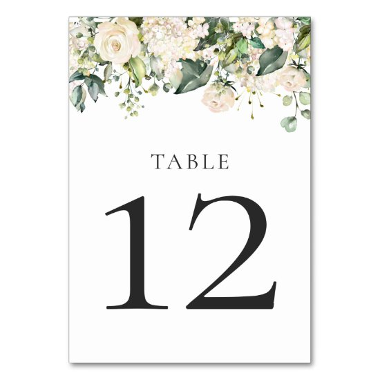 White Peonies and Roses with Greenery Table Cards
