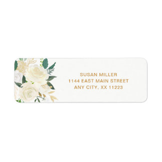 White Peonies Floral wedding return address Label