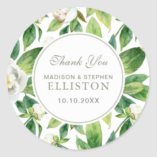 White Peonies & Leaf Watercolor   Thank You Classic Round Sticker