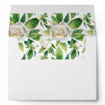 White Peonies & Leaf Watercolor -  Wedding Envelope