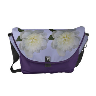 White Peonies on Purple Messenger Bag