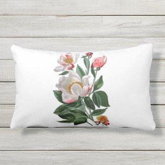 White Peonies Outdoor Fabric Lumbar Throw Pillow
