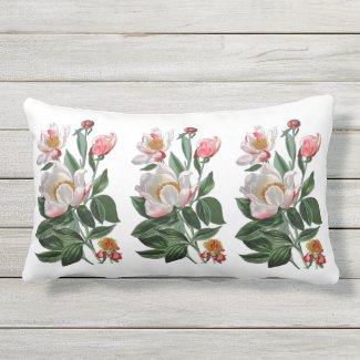 White Peonies Outdoor Fabric Lumbar Throw Pillow