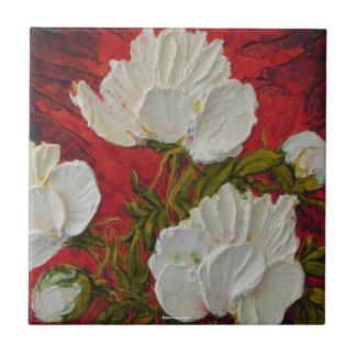White Peonies Tile
