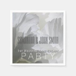 White Peony 1st Wedding Aniversary Paper Napkins 1