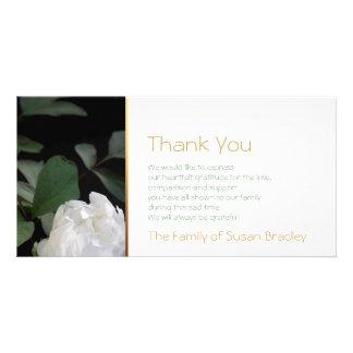 White Peony 2 Memorial Sympathy Thank You Card