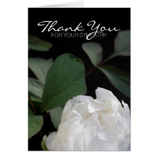 White Peony 3 Memorial Sympathy Thank You Card