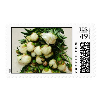 White Peony Bud Bouquet Wedding Postage / RSVP Sta