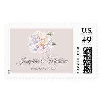 White Peony Floral Mauve Wedding Postage
