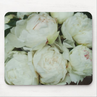 White Peony Flower Buds Mouse Pad