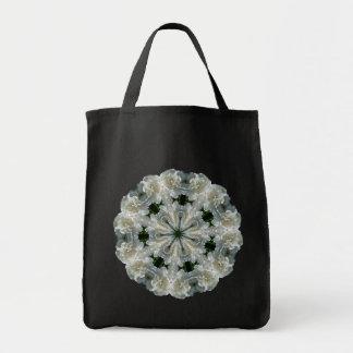 White Peony Flower Kaleidoscope Tote Bag