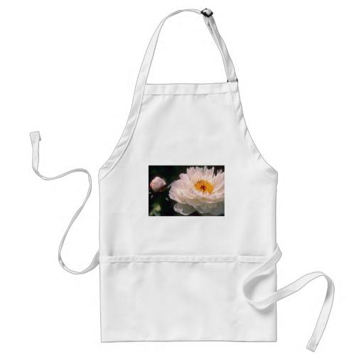 white Peony flowers Adult Apron