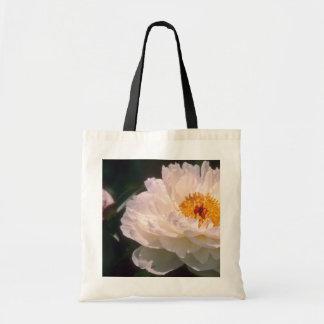 white Peony flowers Budget Tote Bag