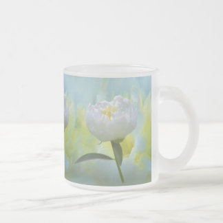 White Peony Frosted Glass Coffee Mug