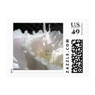 White Peony Petals Small Wedding Postage