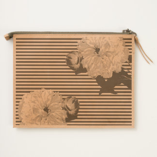 White peony teal pinstripes travel pouch