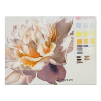 White Peony Watercolor Poster Print with Palette