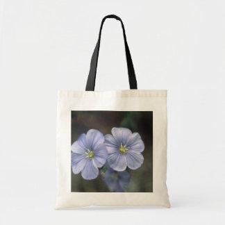 white Perrenial Flax, (Linum Perenne) flowers Budget Tote Bag