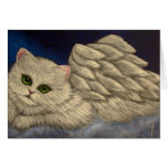 WHITE PERSIAN ANGEL CAT HOLIDAY Card