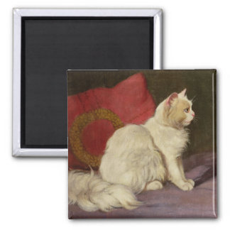 White Persian Cat 2 Inch Square Magnet