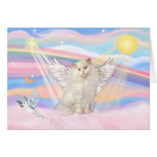 White Persian Cat Angel in Clouds Card
