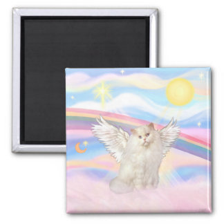 White Persian Cat Angel in Clouds Magnet