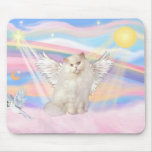 White Persian Cat Angel in Clouds Mouse Pad