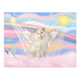 White Persian Cat Angel in Clouds Postcard
