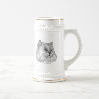 White Persian Cat Beer Stein
