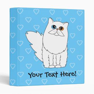 White Persian Cat Blue Heart Binder (Odd Eyes)