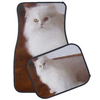 White persian cat car mat set