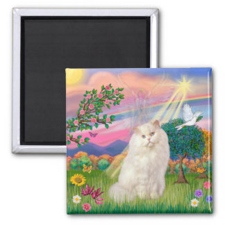 White Persian Cat - Cloud Angel 2 Inch Square Magnet