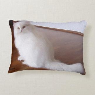 White Persian cat Decorative Pillow